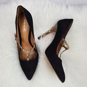 Coach Fulton snakeskin pointed toe pump heels